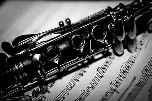 Clarinet Over Sheet Music