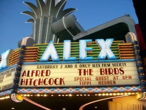 The Birds marquee at The Alex Theatre in Glendale. Photo by Anthony Nittle